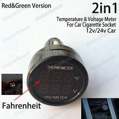 2in1 Digital Led Voltmeter Fahrenheit Thermometer Car Cigarette Lighter 12v 24v