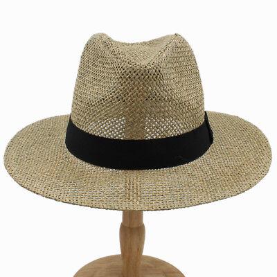 Men Women Straw Hats Panama Sombrero Wide Brim Sunhat Fedora Trilby Summer Caps