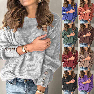 UK Women Spring Plus Size Long Sleeve Ladies Pullover Sweater Knitted Jumper Top