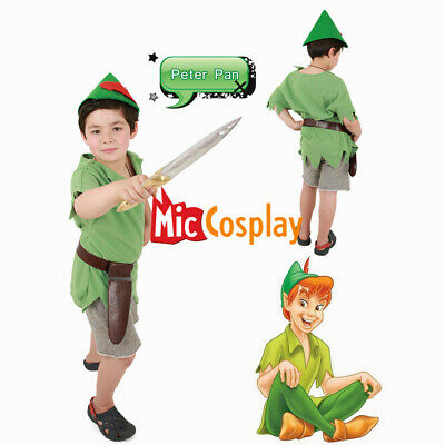 Peter Pan Costume for Kids Halloween Outfit with Hat and Sword](Pan Halloween Costume)
