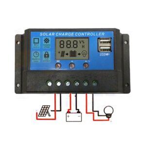 30A 12V-24V LCD DISPLAY PWM SOLAR PANEL REGULATOR CHARGE CONTROLL