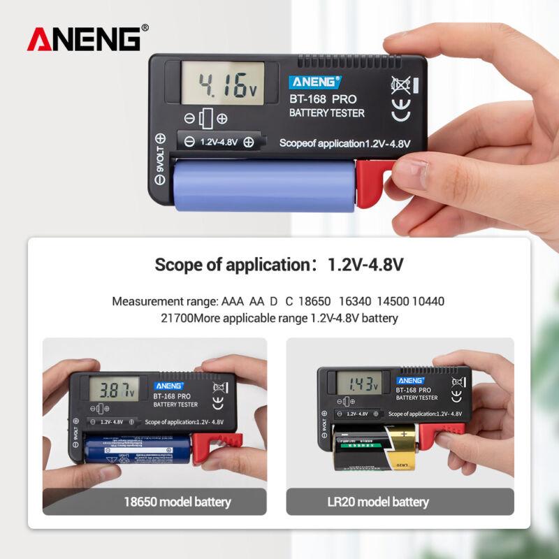 Battery Capacity Tester Volt Checker For 18650 9V 1.5V AA/AAA Cell JU BT-168 Pro