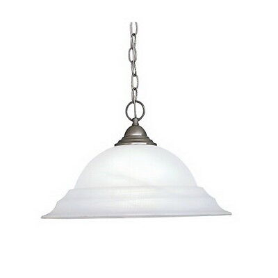 Pewter with Alabaster Glass Chandelier/Pendant 18