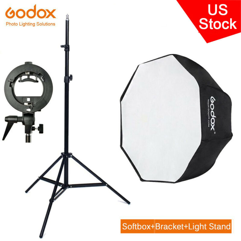 US Godox 80cm Octagon Umbrella Softbox Light stand Bracket Kit For AD200 200Pro