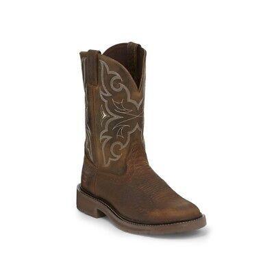 Justin Men's Amarillo Chocolate Western Work Boots WK4310 (Justin Mens Chocolate)