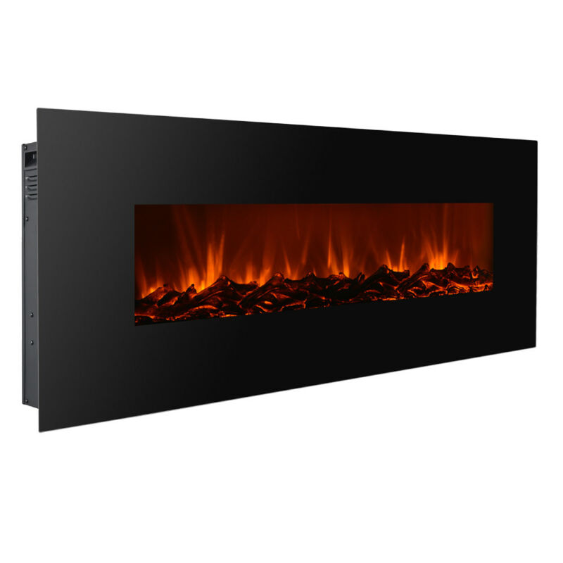 "New Modern 50"" Electric Wall Mounted Fireplace Heater W/ Adjustable Heating"