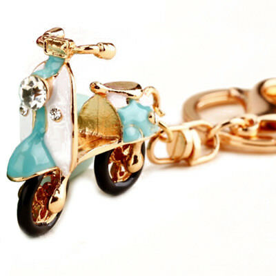 vintage scooter pendant keychain,retro scooter key ring,Turq