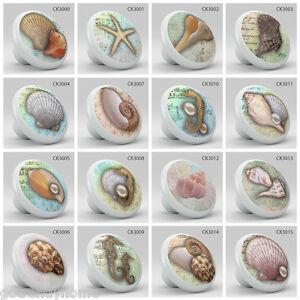 Nautical coastal style ocean sea shells pearl ceramic knob pull vanity kitchen
