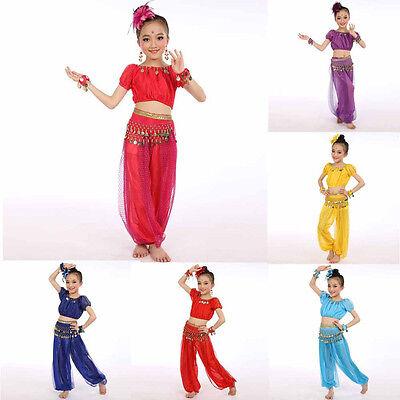 Tanz Kostüme Uk (Kinder Mädchen Bauchtanz Kostüme Chiffon Pailletten Ägypter Tanzende Kleidung UK)