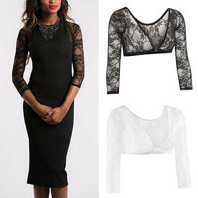 Mieder Lace Bluse (Women Lace Shoulder Seamless Arm Slimming Body Shaper Long Sleeve Tops S-3XL)