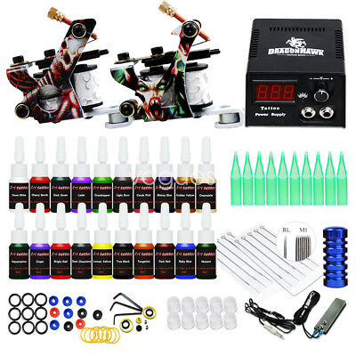 - Complete Tattoo Kit needles 2 Machine Gun Power Supply 20 Color Ink Tip D175VD