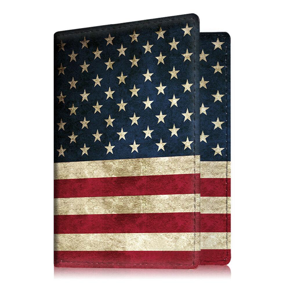 Travel Passport Holder Wallet Holder RFID Blocking Vegan Leather Card Case Cover US Flag