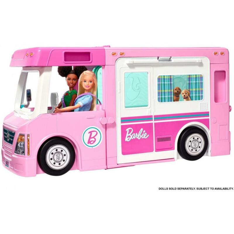 Barbie 3-In-1 Dreamcamper Vehicle Pool Truck Boat 50 Accessories Kids Girls New
