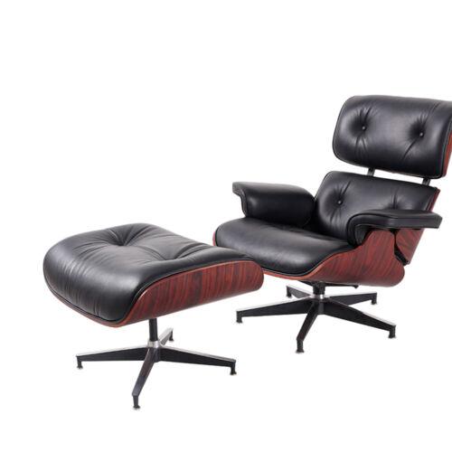 Rosewood Chair & Ottoman 100% Genuine Leather Lounge Chair Black Modern Armchair