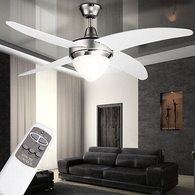 Decken Ventilator 122 cm Flügel Lüfter Kühler Weiß mit FERNBEDIENUNG Beleuchtung