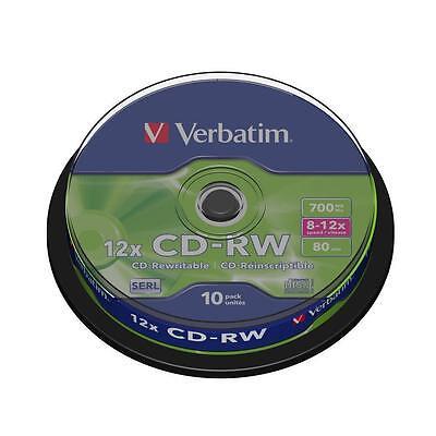 10x Verbatim CD-RW Rohlinge 700MB 12x Schreiben Spindel/Cakebox