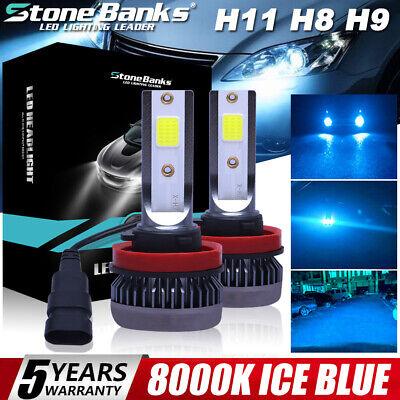 2X Mini H11 H9 H8 Ultra-light ICE BLUE 8000K LED Headlight Hi-Low Beam Fog Bulbs