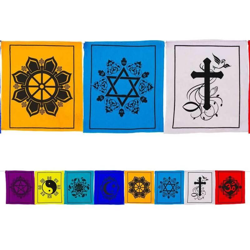 Multifaith Prayer Flags Coexist Spiritual Hippie Decor