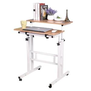 Soges Adjustable Stand Up Desk Computer Mobile Desk Workstation with StandingSeating,Oak 101-G-CA Condtion: Lightly U...