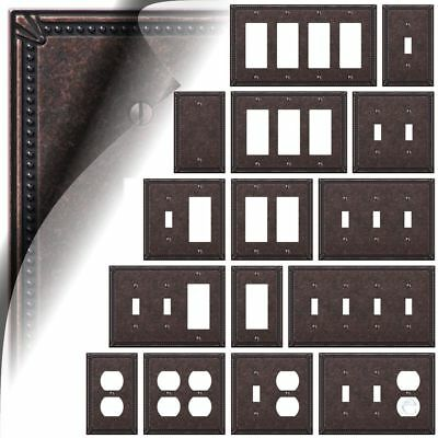 Tumbled Aged Bronze Imperial Bead Switch Plate Cover Toggle Rocker Duplex -
