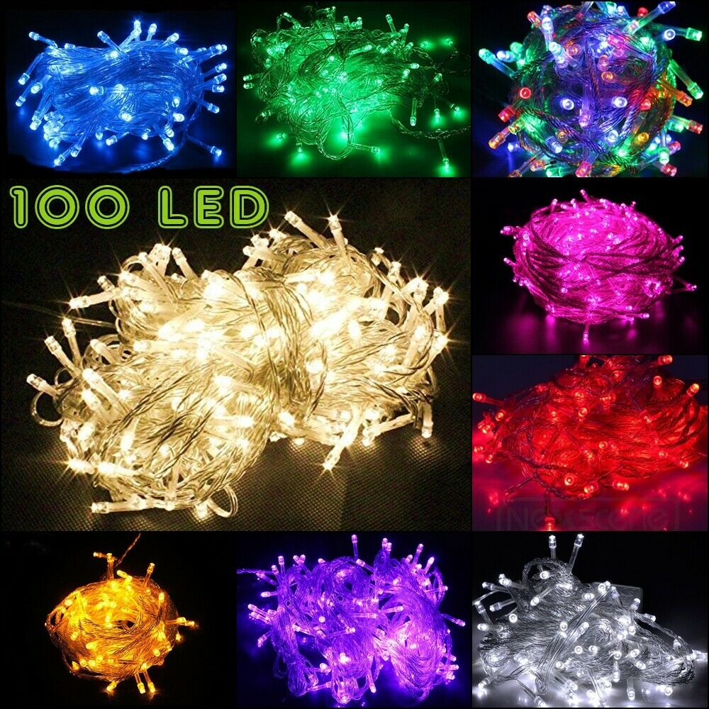 100 LED String Fairy Lights Clear Wires Party Wedding Xmas D