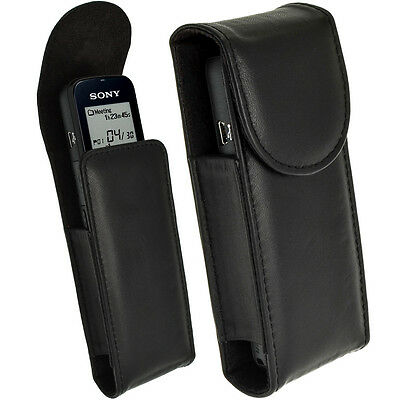 Black Genuine Leather Case Cover for Sony ICD-PX312, PX333,
