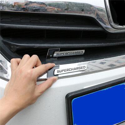 Black Chrome SUPERCHARGED Metal Grille Emblem + Badge Sticker Engine Coupe Turbo