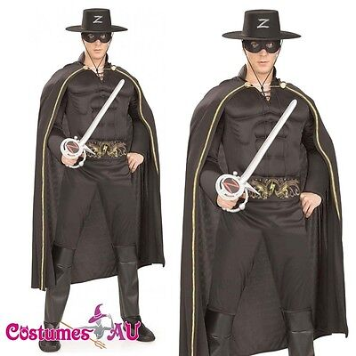 scle Chest Halloween Hero Fancy Dress Adult Costume (Zorro Halloween)