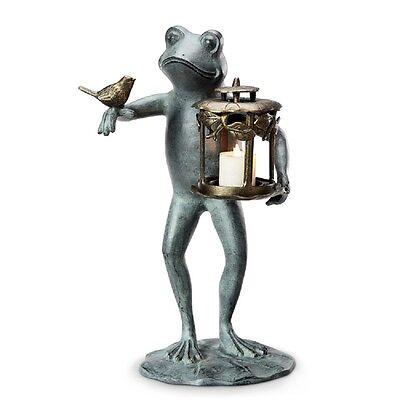 Frog & Bird Garden Lantern Sculpture Statue Patio Pool Pond Whimsical Decor (Frog Garden Sculpture)