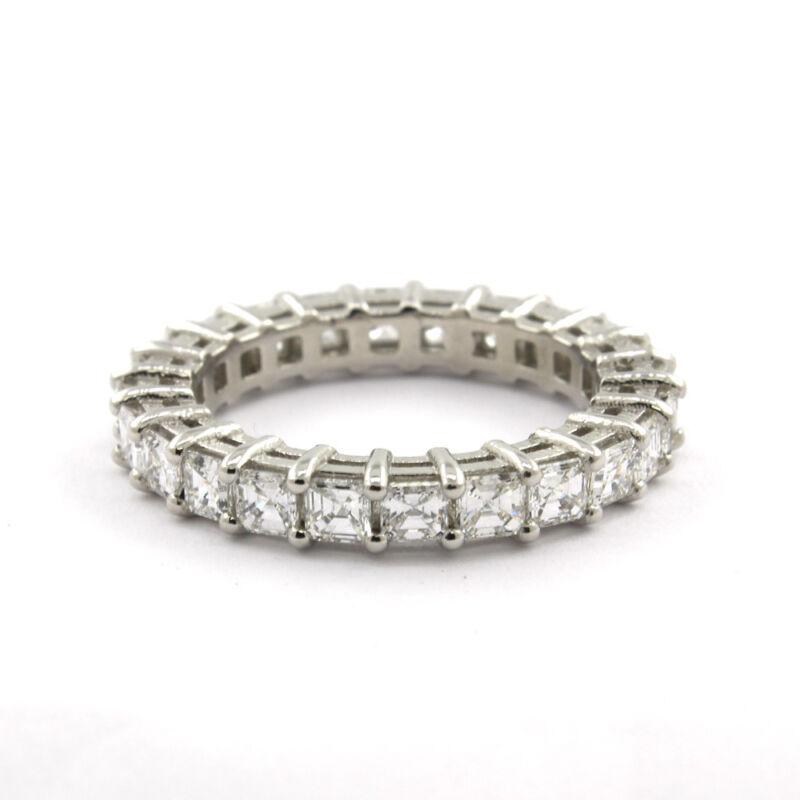 18k Gold Diamond Asscher Cut 3.50 Carat Dia Certified Eternity Ring