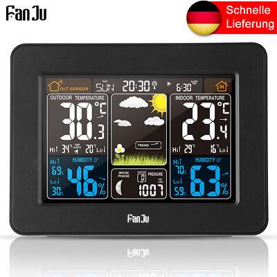 FanJu 3373W Funkwetterstation Farbprognose Temperatur Luftfeuchtigkeit Baromete