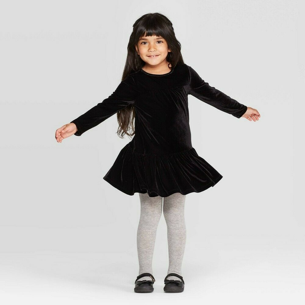 Toddler Girls' Long Sleeve Velour Dress – Cat & Jack Black 18M Baby
