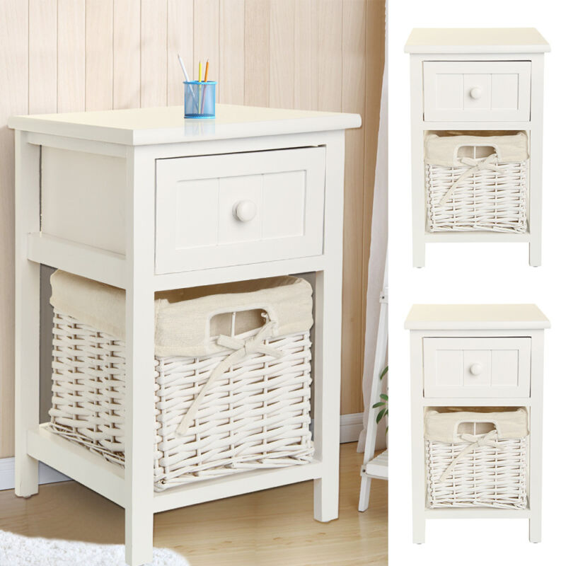 Pair Of Chic White Wood Wicker Bedside Tables Drawers