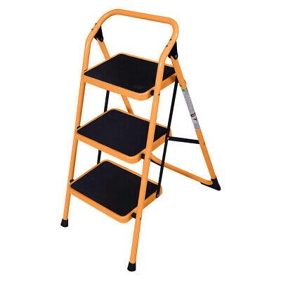 New Multi Purpose 3 Step Ladder Foldable Platform Stool 330 Lbs Capacity Yellow