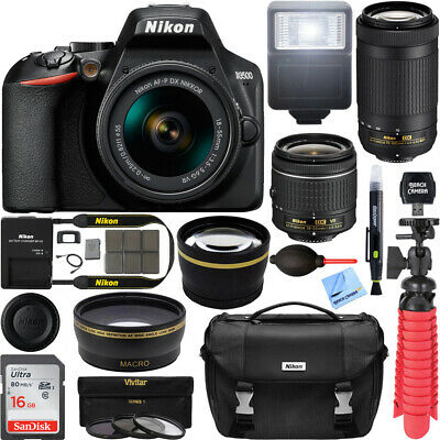 Nikon D3500 DSLR Camera w/ AF-P DX 18-55mm & 70-300mm Lens REFURB 32GB Bundle