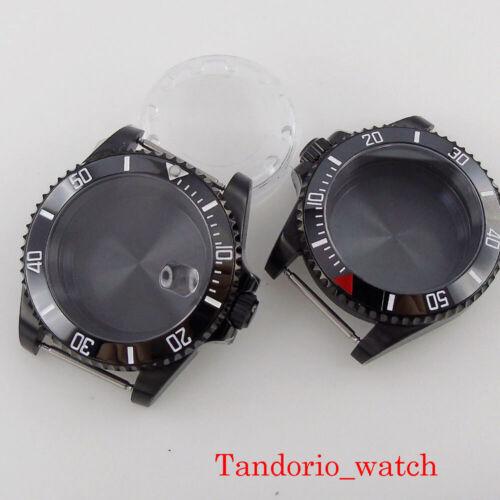 Black Pvd Watch case for nh35a nh36a movement sapphire glass 120clicks bezel
