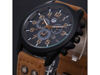 Leather Waterproof Date Analog Army Quartz Sport Military Men's Wrist Watch