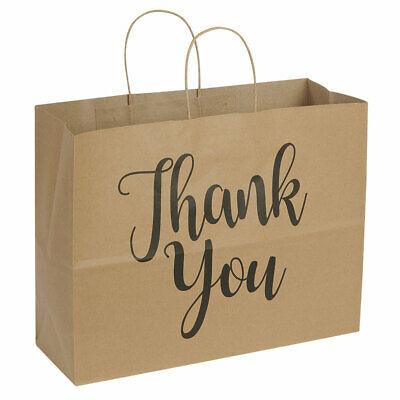 Large Kraft Thank You Paper Shopping Bags - 16l X 6d X 12h - Case Of 100