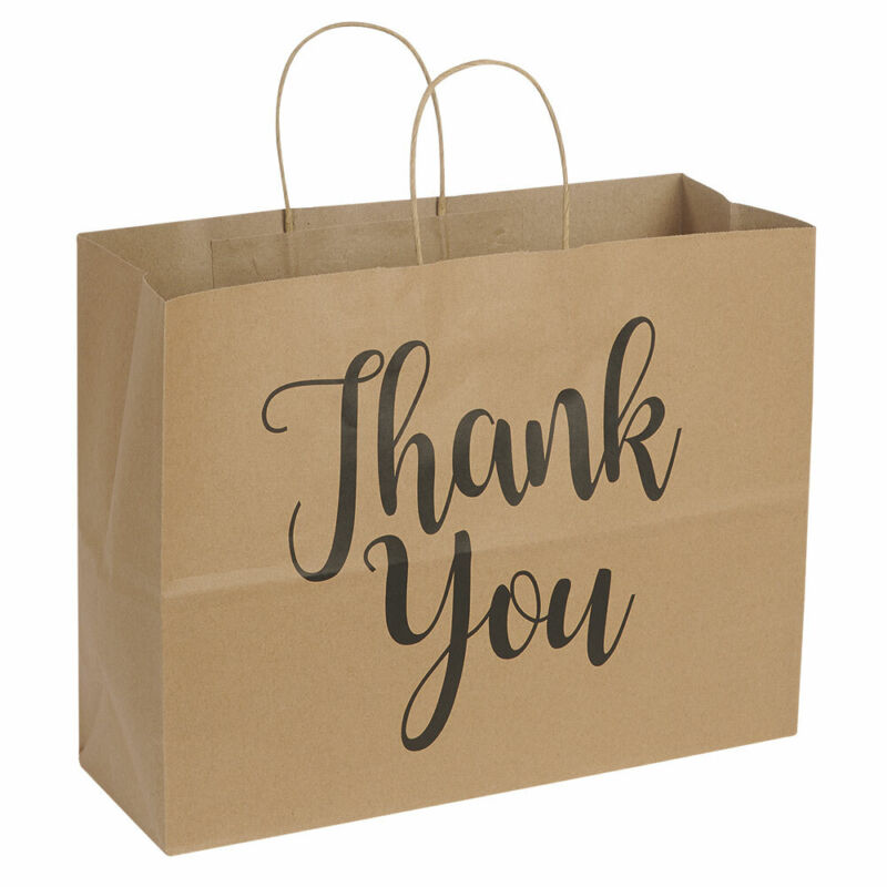 """Large Kraft Thank You Paper Shopping Bags - 16""""L x 6""""D x 12""""H - Case of 100"""