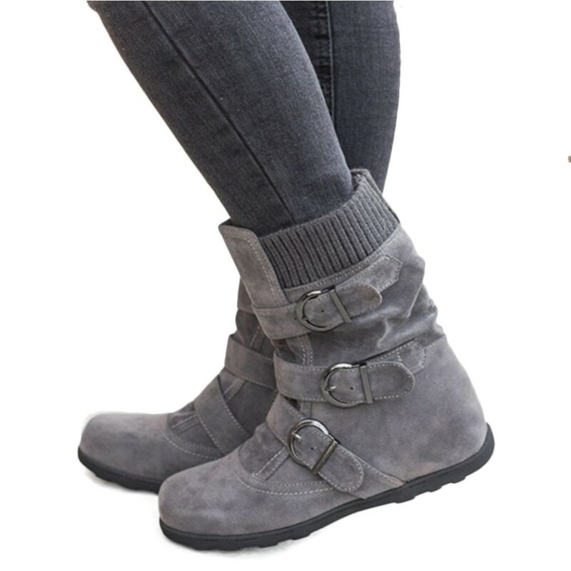 Womens Fall Winter Warm Suede Fur Lined Mid-calf Snow Flat Short Boots Shoes US