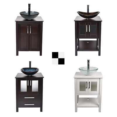 Bathroom Cabinets Countertops - 24'' Bathroom Vanity Single Cabinet Counter Top Vessel Sink Bowl Faucet Combo US