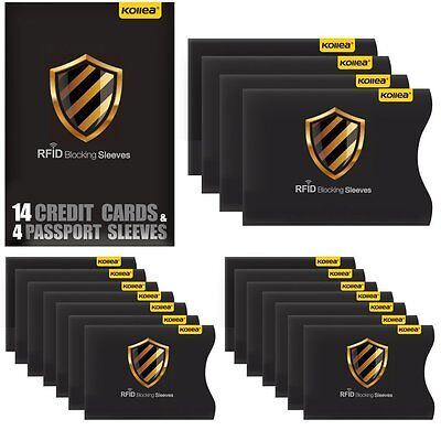 RFID Blocking Tearproof Waterproof Sleeves for 14 Credit Card &4 Travel Passport