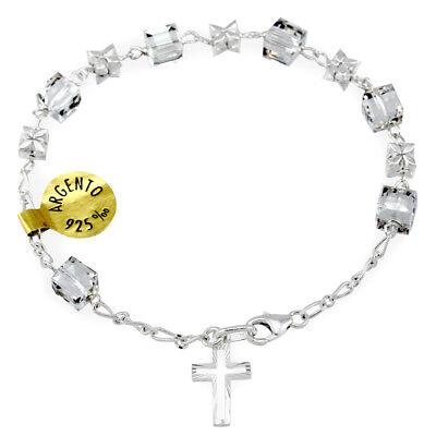 Swarovski Crystal Sterling Silver Flower Beads Rosary Bracelet