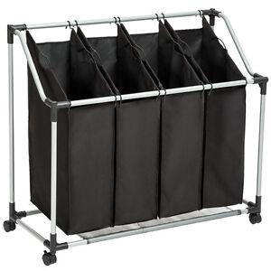 chariot linge en cadre m tal avec 4 sacs panier sur 4. Black Bedroom Furniture Sets. Home Design Ideas