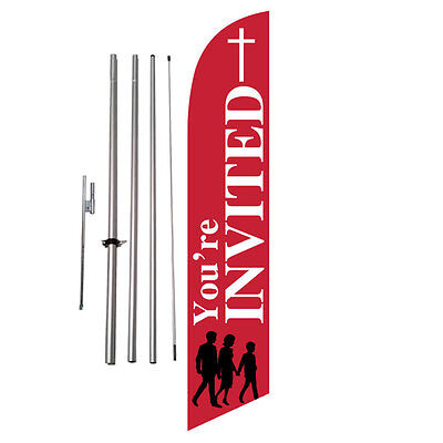 auto Repair Rotation Alignment Open King Swooper Feather Flag Sign Kit with Pole and Ground Spike Pack of 3