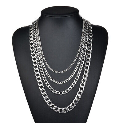Men Unisex Stainless Steel Silver Curb Link Chain Necklace 18-30inches 3.5-7mm