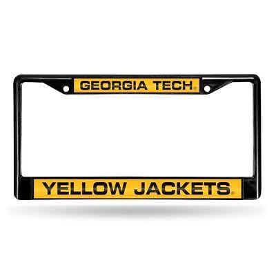 Georgia Tech Yellow Jackets NCAA Black Metal Laser Cut License Plate Frame Georgia Tech Yellow Jackets Framed