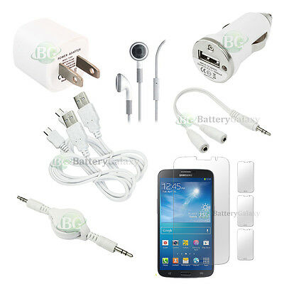 10pc NEW 2X USB Cable+2X Charger+Headset for Phone Samsung Galaxy Mega 900+SOLD