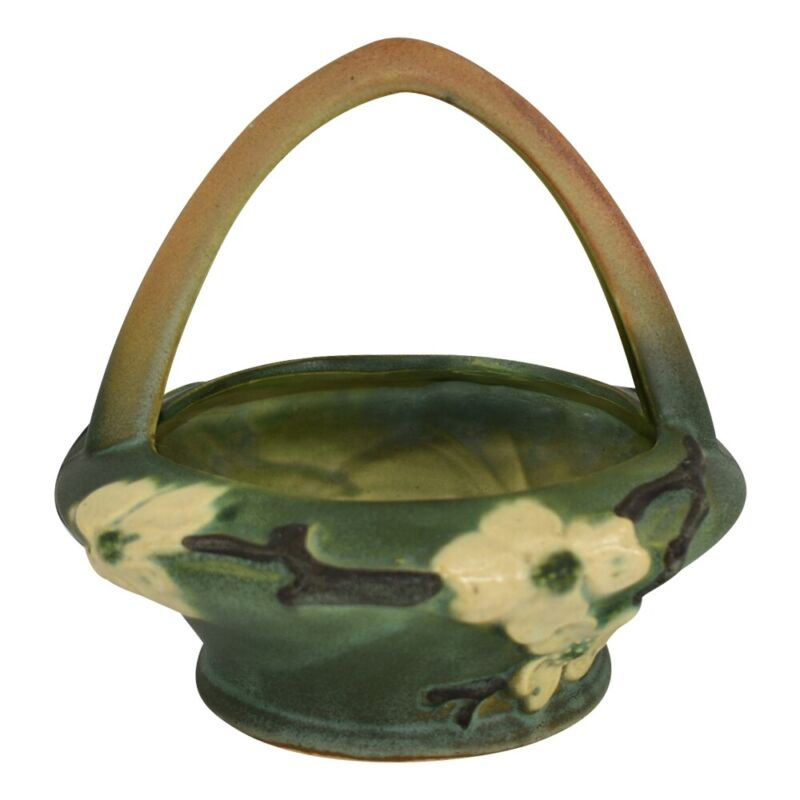 Roseville Pottery Dogwood Smooth Basket