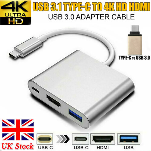 Type C to USB-C 4K HDMI USB 3.0 3 in 1 Hub Adapter Cable For Apple Macbook Mac